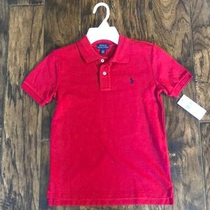 New with tags!!  Ralph Lauren red polo.  4 and 7